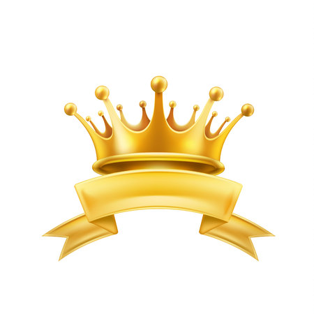 Gold crown ribbon shiny winner king or queen symbol. Vector first place champion sign.