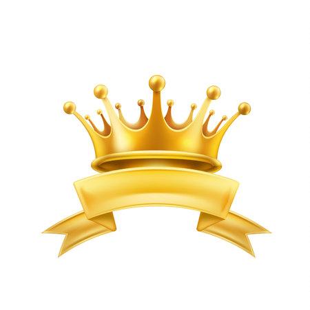 Oro corona cinta brillante ganador rey o reina símbolo. Vector primer lugar signo campeón. Foto de archivo - 96170809