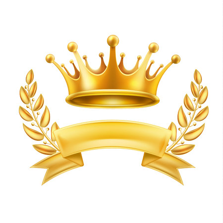 Gold crown ribbon shiny winner king or queen symbol. Vector first place champion laurel wreath sign.