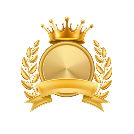 Gold crown laurel wreath winner frame. Vector first place, champion sign with golden ribbon with circle.