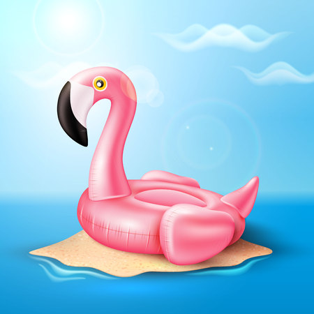 A Vector flamingo inflatable pool ring on beach