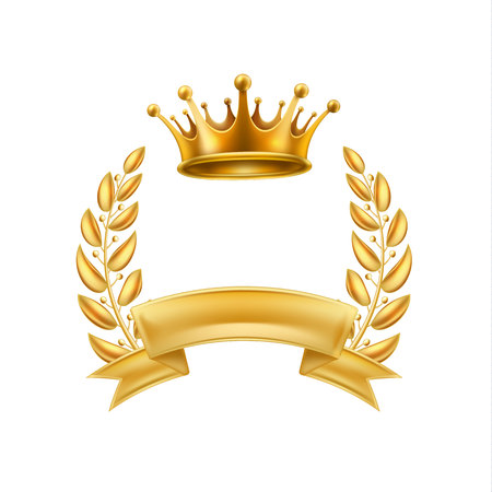 Gold crown laurel wreath winner frame isolated
