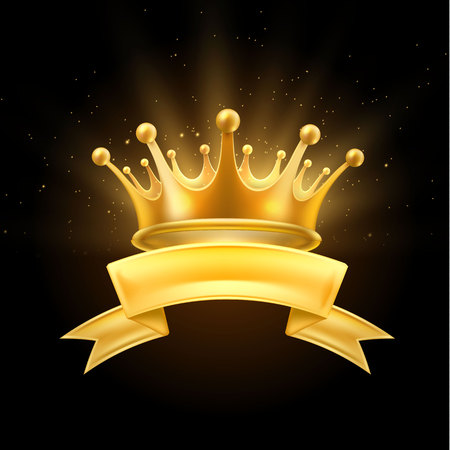 Gold crown ribbon winner shiny sign black Иллюстрация