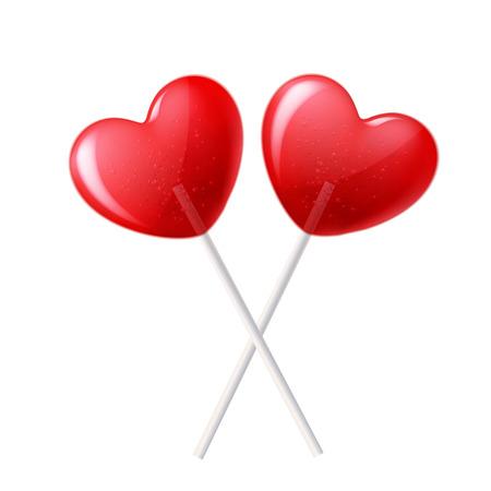 Heart lollipop candy vector