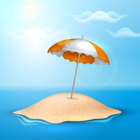 Island. Summer vacation realistic 3d poster Illustration