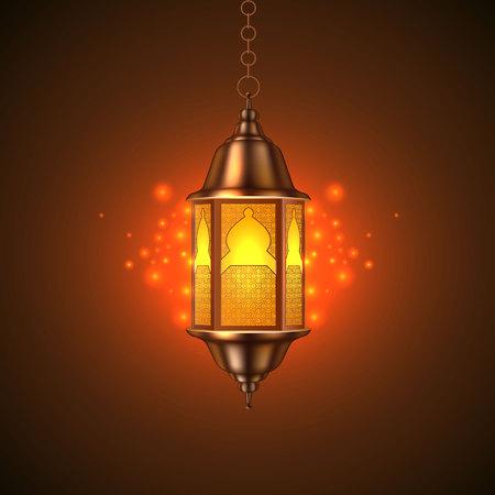 Realistic Ramadan kareem lantern Illustration