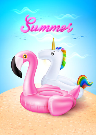 Vector flamingo, unicorn inflatable ring on beach