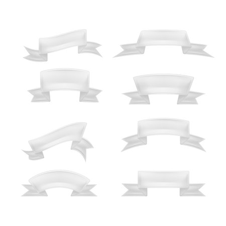 Vector realistic detailed white ribbon scroll set