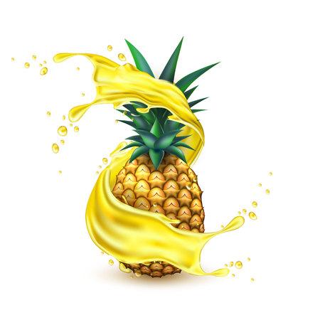 Vector realistic pineapple juice splash slice Stock Photo