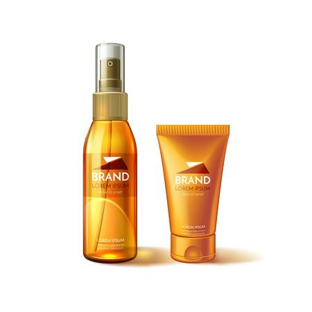 Vector realistic of sunscreen tube mockup ad