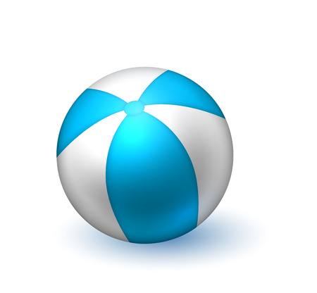 Realistic inflatable ball. White blue stiped beach ball, pool bounce, holiday summer play. Illustration