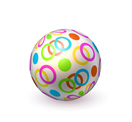 Realistic inflatable ball. Colorful dots circles beach ball, pool bounce, holiday summer play.