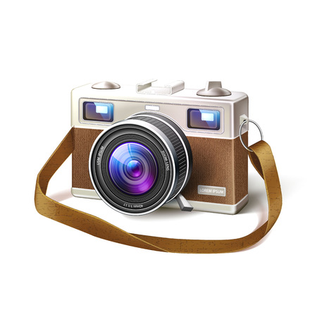 Realistic vintage film photo camera with detailed macro lens, body. Vector retro professional digital, analogue technology. Photography optical device. Realistic illustration isolated