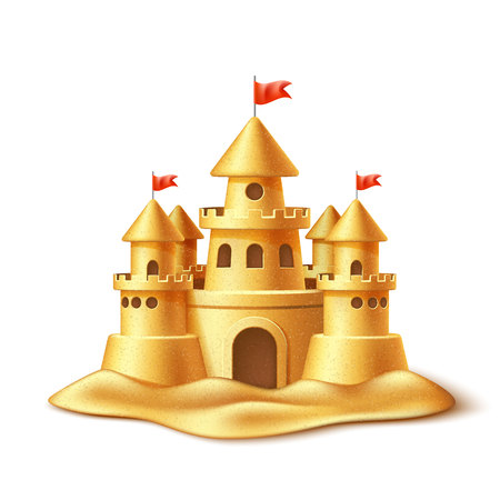 Vector realistic sandcastle Stock Vector - 97040646