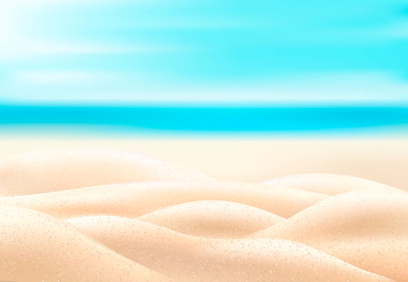 Vector realistic beach coast coastline, seaside, seashore background with sand.