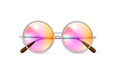 Vector realistic retro circle eyeglasses, vintage hipster gradient lens for photo booth.