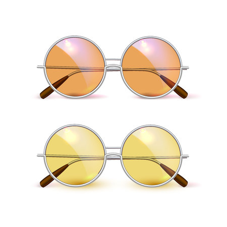 Two orange and yellow circlular sunglasses on an white background