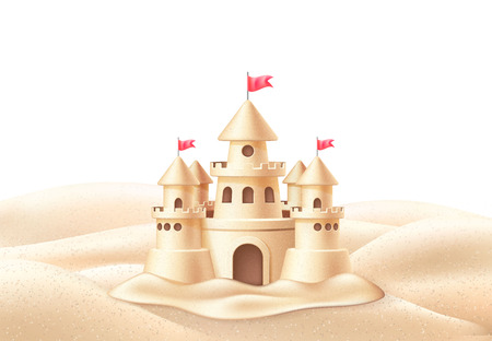 Vector seaside sand castle coastline coast shore