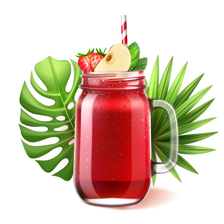 Realistic smoothie mason glass jar. Vector strawberry, watermelon fruit juice drink with sliced apple mint straw. Healthy fitness cocktail, sweet raw organic summer shake, tropical leaves background Stock Illustratie