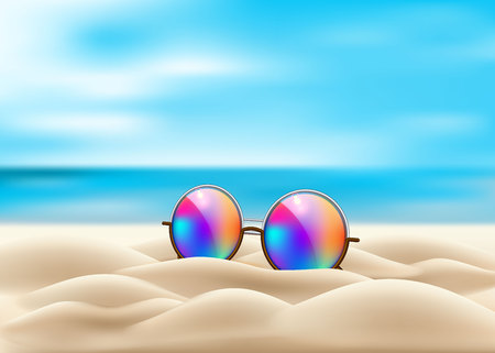 Vector realistic retro circle eyeglasses on beach sand. Vintage hipster gradient lens on seaside ocean background for summer vacation holiday beach pool party celebration design. 3d illustration