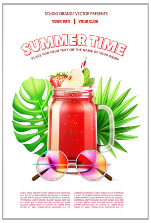 Vector summer time party smoothie glass tropical Stock Illustratie