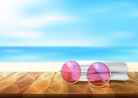 A Vector wood floor beach seaside sunglasses towel