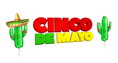 3d cinco de mayo party poster template. Festival traditional mexican holiday celebration design with realistic sombrero hat, inflatable cactus air balloon. Vector isolated illustration