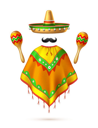 Sombrero realistic mexican hat mustache poncho and maracas man silhouette. 3d cinco de mayo festival traditional mexican holiday celebration design. Decorated vintage party symbol. Vector illustration Vettoriali