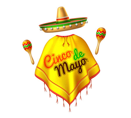 3d cinco de mayo party festival traditional mexican holiday celebration design. Sombrero realistic mexican hat, poncho with lettering inscription, maracas man silhouette. Vector illustration