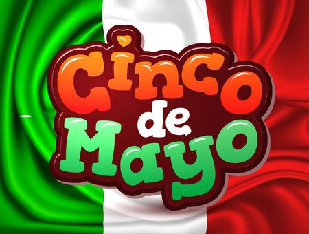 Vector cinco de mayo Mexico flag realistic Illustration