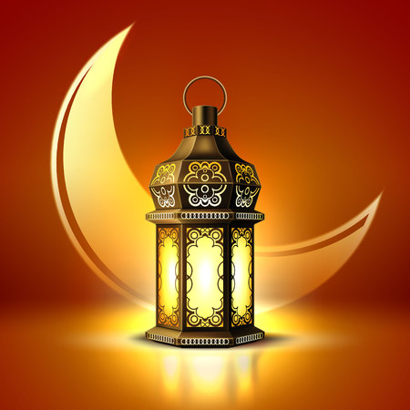 Vector ramadan Kareem lantern realistic moon