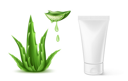 Vector aloe vera realistic cosmetic spray tube ad