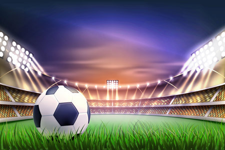 Football soccer stadium tribune backgroud with ball at realistic green grass field playground, illuminated by 3d spotlight. Match championship competition arena for sport events. Vector illustration