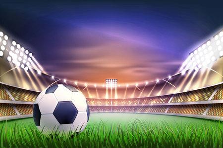 Backgroud della tribuna dello stadio di calcio di calcio con la palla al campo da giuoco realistico del campo di erba verde, illuminato dal riflettore 3d. Corrisponde all'arena da competizione per eventi sportivi. Illustrazione vettoriale