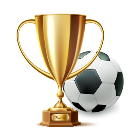 Vector realistic golden trophy cup soccer ball