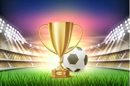Vector realistic football soccer stadium Illustration