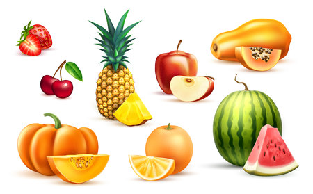 Pineapple papaya watermelon apple exotic fruit set  イラスト・ベクター素材