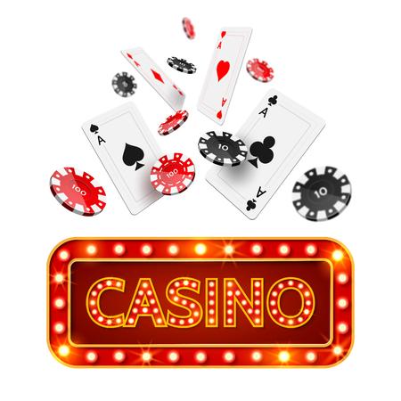 Cartel de casino de póquer realista vector