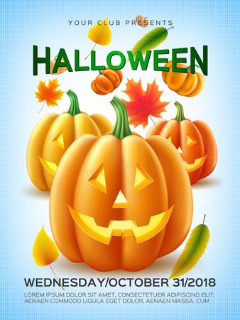 Vector halloween pumpkin, autumn leaves