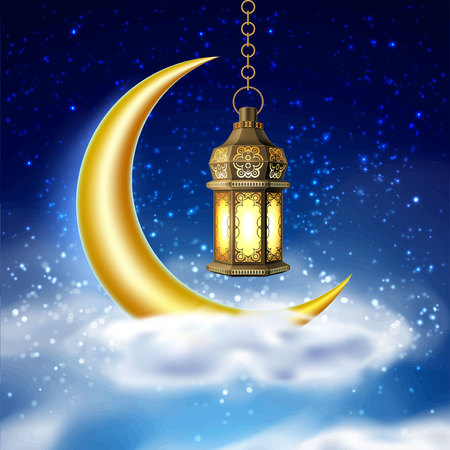 Vector ramadan kareem lantern realistic moon Illustration