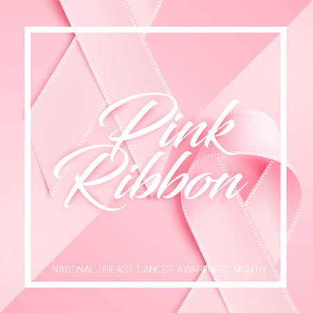 Vector realistic 3d pink silk ribbon cancer