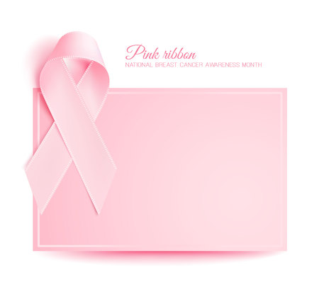 Vector realistic 3d pink silk ribbon breast cancer Illustration
