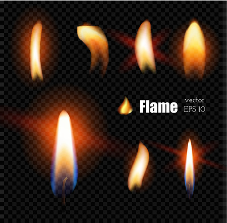 Vector realistic candle fire lighter flame