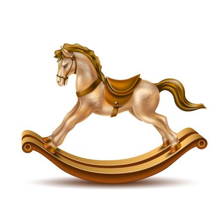 Giocattolo vintage realistico di cavallo a dondolo per regalo di Natale, compleanno o capodanno. Cavallo di marmo dorato di vettore con sella marrone su bastoni di legno. Neonati, ragazzi e ragazze bambini giocano a oggetti
