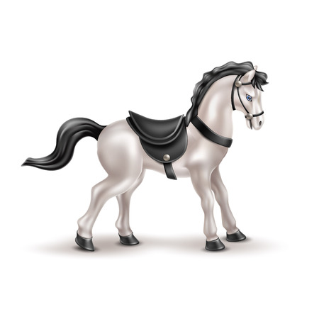 Vector horse realistic toy with black daddle, tail and mane. Marble white grey stallion or gelding doll for babies, boys and girls kids fun. Animal toy for games, birthday, christmas present