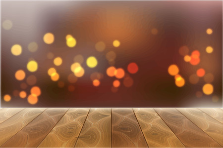 Wooden textured table, desk on blurred festive bokeh lights, glittering background for christmas new year holiday design. Warm cozy backdrop, xmas winter celebration vector design empty space for text