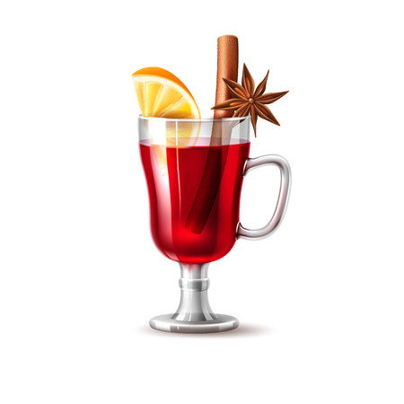 Realistic glass of mulled wine with orange slice, dried anise star, cinnamon stick in red alcohol hot cocktail for christmas, new year party. Vector traditional xmas drink, cafe restaurant menu design Çizim