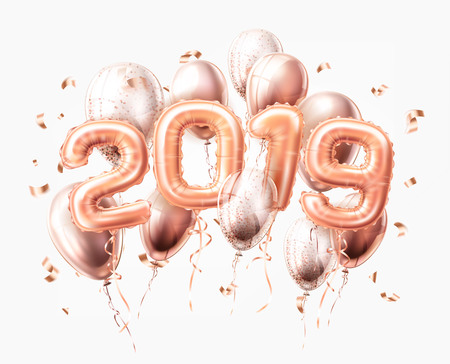 Vector realistic 2019 pink air balloons with confetti new year, merry christmas celebration decoration design elements. Traditional xmas party greeting symbols illustration isolated background