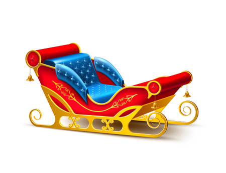 Realistic santa claus sleigh. Merry christmas and happy new year winter holidays decoration design element. 3d golden, blue red color sled for reindeer sledding. Traditional seasonal Vector object. Illustration