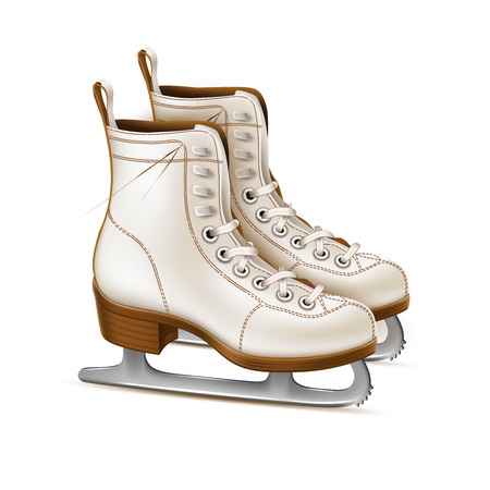 Vector realistic white figure skates, vintage ice rink equipment footwear. Winter active outdoor leisure ice skates, retro christmas and new year holiday decoration symbol.